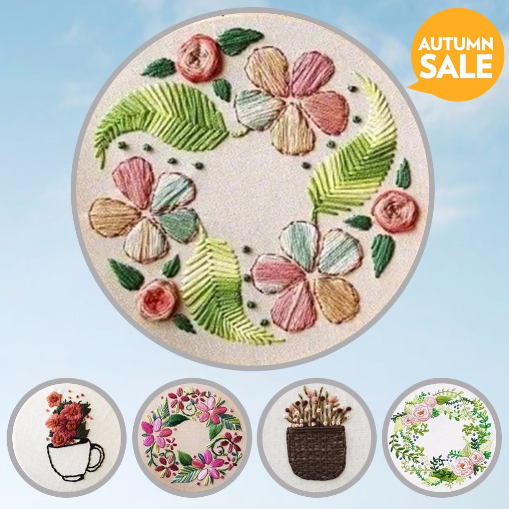 Magic Embroidery Set with Frame for Beginner Needlework Kits Cross Stitch Series Arts Crafts Sewing Decor Wall Painting Art
