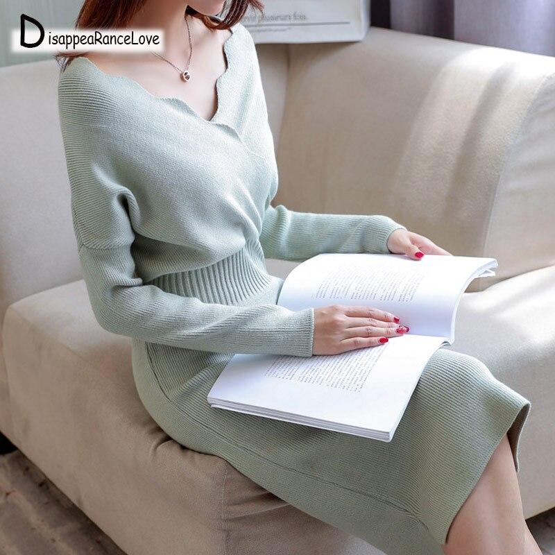 2019 à manches longues à col rond pull robe femmes automne hiver épais a-ligne robe Slim femme pull femme tricoté robe