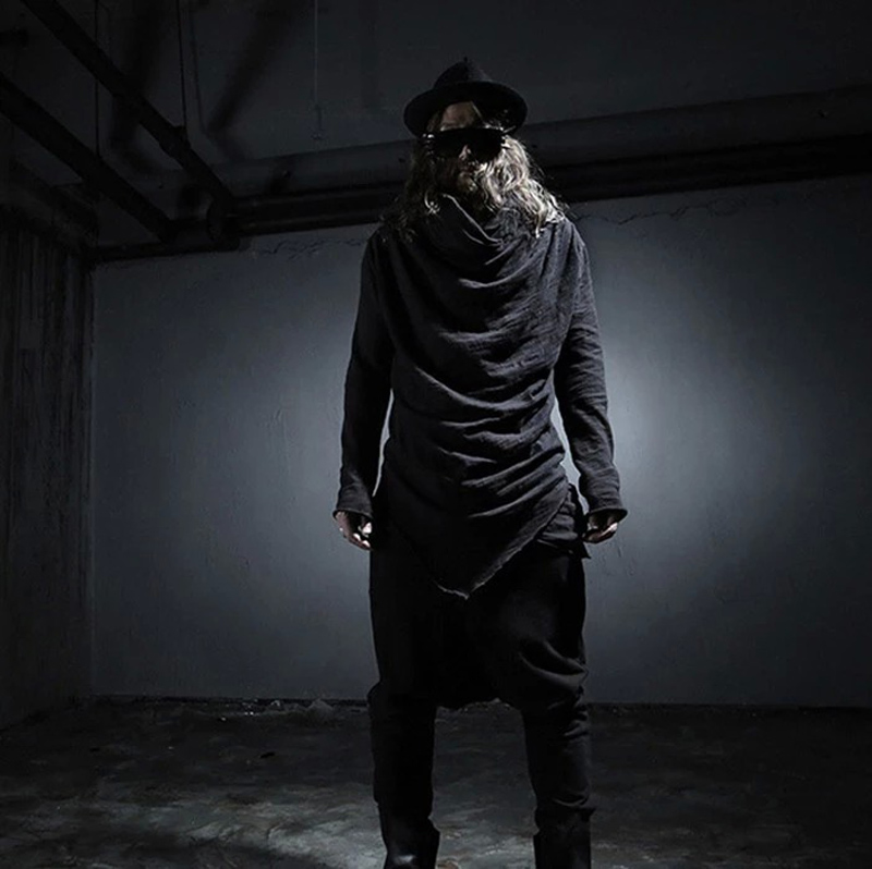 Celeb Avant-Garde Mens Clothing Asymmetric Unbalance Hoodie Long Tee T Shirts Trendy Hair Stylist Coat Tops