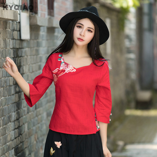 Kyqiao Ethnic Shirt 2018 Women Pullover Female Autumn Mexico