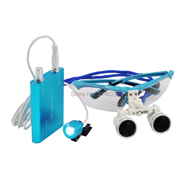 ФОТО Free Shipping CE 3.5X Dental Loupes, Surgical loupes working distance 420mm blue