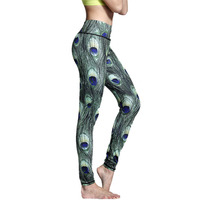New Sexy Hips Push Up Peacock Feather Yoga Pants Women Tights Sport Fitness Running Workout Leggings