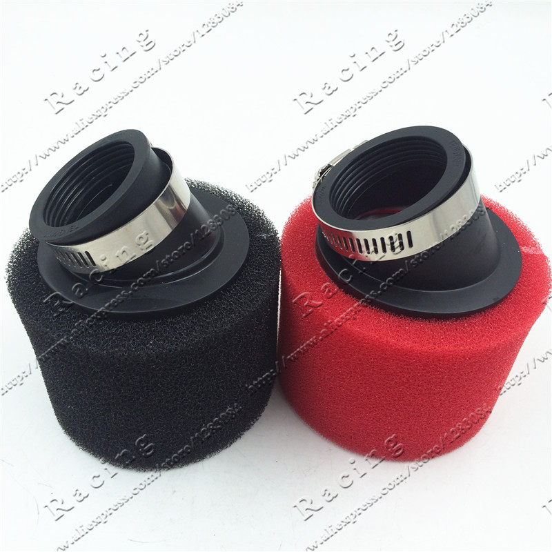 32mm-48mm ATV PIT DIRT BIKE 45 Degree ANGLED FOAM Air Filter Pod Cleaner 110cc 125cc RED CRF50 XR50 CRF
