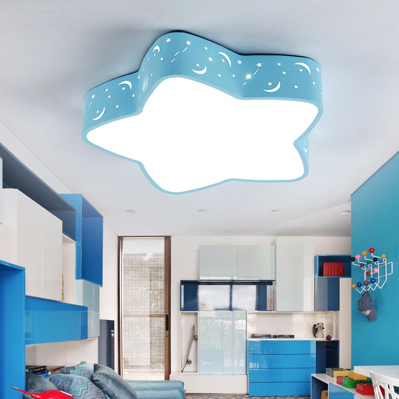 Modern Star Led Ceiling Lights With Remote Control Living Room Bedroom Child Lamp Decor Home Lighting Acrylic Lampshade White creative star moon lampshade ceiling light 85 265v 24w led child baby room ceiling lamps foyer bedroom decoration lights