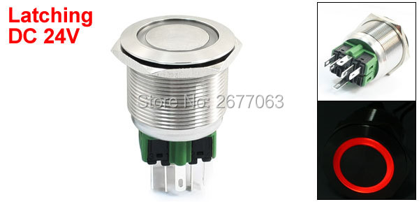 DC 24V Red Angel Eye Latching Stainless Steel Push Button Switch 25mm