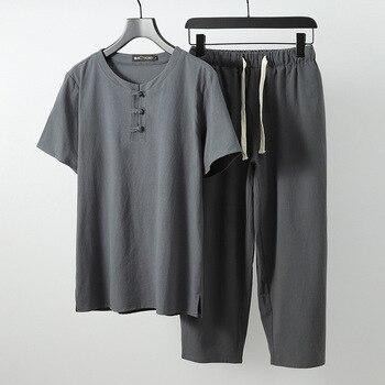 Men linen solid Tops Tees sets T-shirts Men/Women Summer solid T shirt Men plus size M-9XL o-neck short sleeve  two-piece suits
