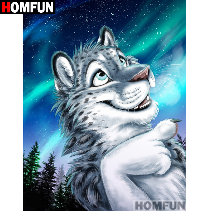 HOMFUN Full Square Round Drill 5D DIY Diamond Painting quot Cartoon leopard quot Embroidery Cross Stitch 5D Home Decor Gift A07377 in Diamond Painting Cross Stitch from Home amp Garden