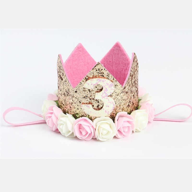 Boy Blue Gold First Birthday Hat Glitter Girl Pink Princess Crown Number 1st 2 3