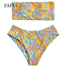 80f748b6d02a5 ZAFUL Bandeau Bikini Floral High Waisted Women Swimsuit Swimwear Sexy  Strapless Padded High Cut Biquni Swimming