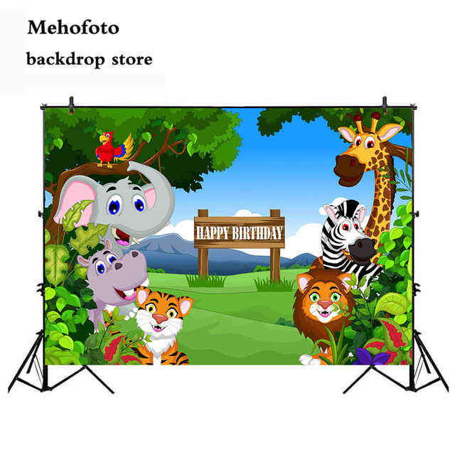 Mehofoto Jungle Birthday Party Photography Backdrops Animals Safari Wild Backgrounds for Photo Shoot Studio Cartoon 757