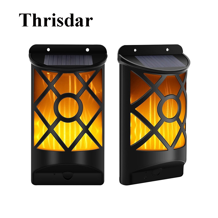 Porch Light Flickers When Off: Thrisdar 66 LED Solar Flickering Flames Wall Lights