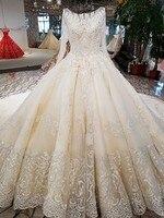 2018 Công Chúa Sang Trọng Wedding Dresses Beading Tua Illusion Long Sleeve Thêu Mẫu Váy Tùy Chỉnh Tailor Ren Gown C