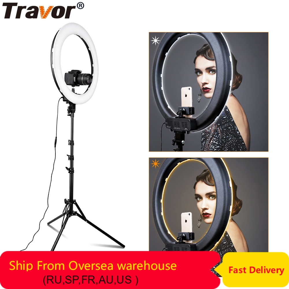 "Travor 18"" LED Ring Light  512 PCS LED Dimmable Photography Ring Lamp Photo Light Ring For YouTube Makeup Ringligt"