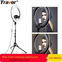 Travor RL-18A Cámara foto y vídeo 18 55 W 512 piezas LED 3200 K ~ 5500 K regulable fotografía anillo luz de vídeo para la cámara de relleno de luz