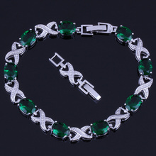 Cheerful Oval Green Cubic Zirconia 925 Sterling Silver Link Chain Bracelet 20cm 22cm For Women V0048