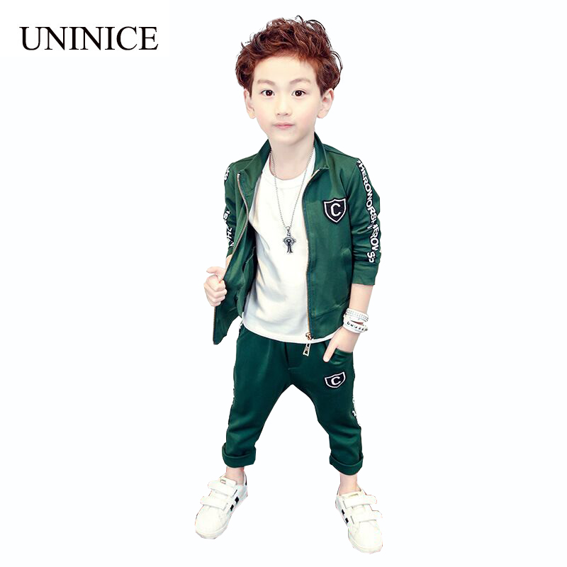 UNINICE Boys Clothing Set 2017 Autumn Children Long Sleeve Letter Zipper Jacket+Pants 2PCS Winter Kids Sports Clothes Sets 2-7Y boys camouflage sports suits 2017 new autumn cotton boys long sleeve sportswear 2 pcs set children clothing 3 5 7 9 11 14 y 6