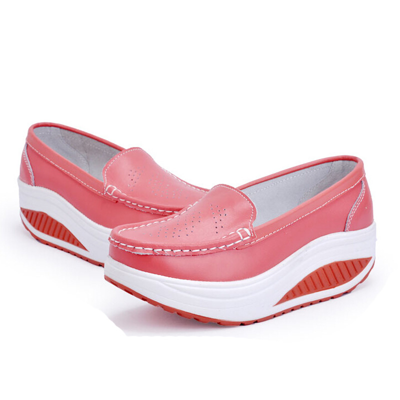 Womens Ladies Girls Genuine Leather Platform Slip On Nursing Nurses Work Shoes | EBay