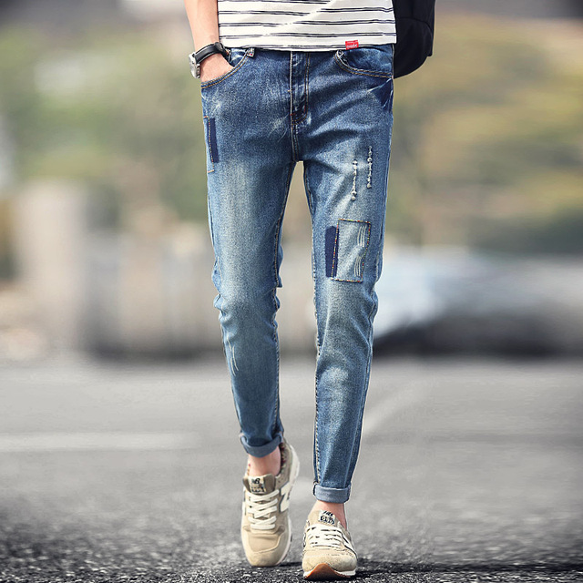 New Fashion 2016 Men S Skinny Jeans Pants Male Ripped Blue Slim Fit Mens Patchwork Stretch Korean Design Denim Pant Man