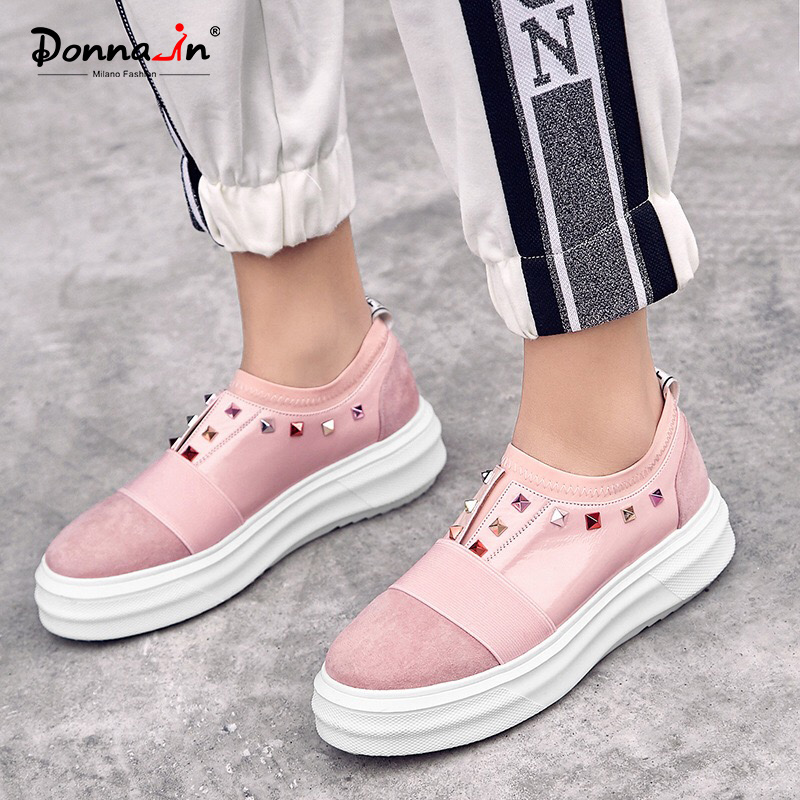 Donna-in Women Flats Creepers Platform Shoes Genuine Leather Slip on Rhinestone Fashion Casual Women Shoes Round Toe Pink BlackDonna-in Women Flats Creepers Platform Shoes Genuine Leather Slip on Rhinestone Fashion Casual Women Shoes Round Toe Pink Black