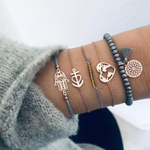 Bohemia Beads Chain Bracelet Set Woman Fashion Hollow Palm Heart Charm Round Tassel Pendant Bracelet Female Fashion Jewelry Gift цена
