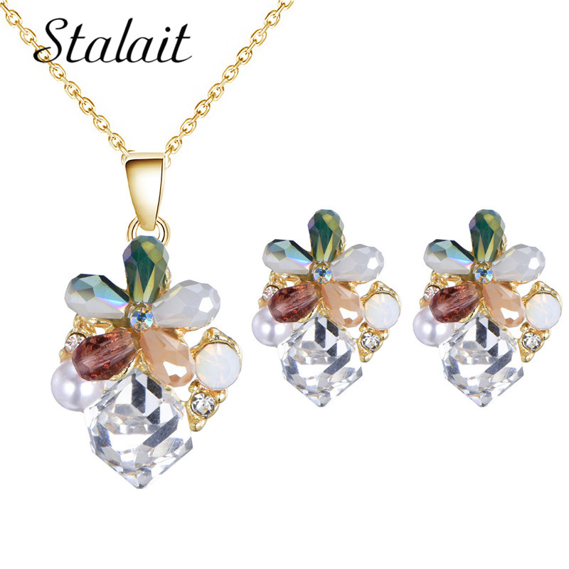 New Arrival Enamel Glaze Fashion Flowers Rhinestone Short Clavicle Bead Necklace Earrings Crystal for Women Party Jewelry