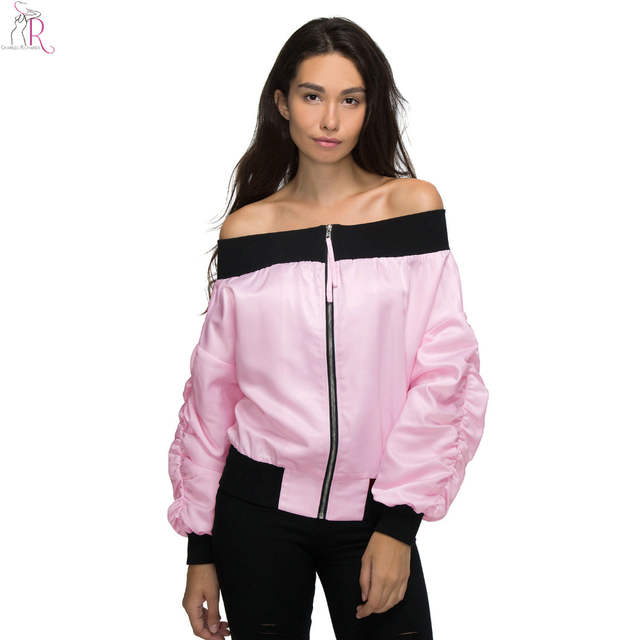 4df35d39d2734 Pink Off Shoulder Bomber Pilot Jacket Coat Satin Sateen Long Sleeve Loose  Casual Sexy High Street