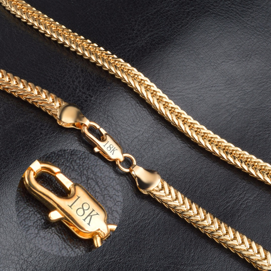 50cm Gold Link Chain Necklace Men Hip Hop Punk Cuban Necklace Chain Rapper Singer Gold Long Necklace For Women Jewelry Colar