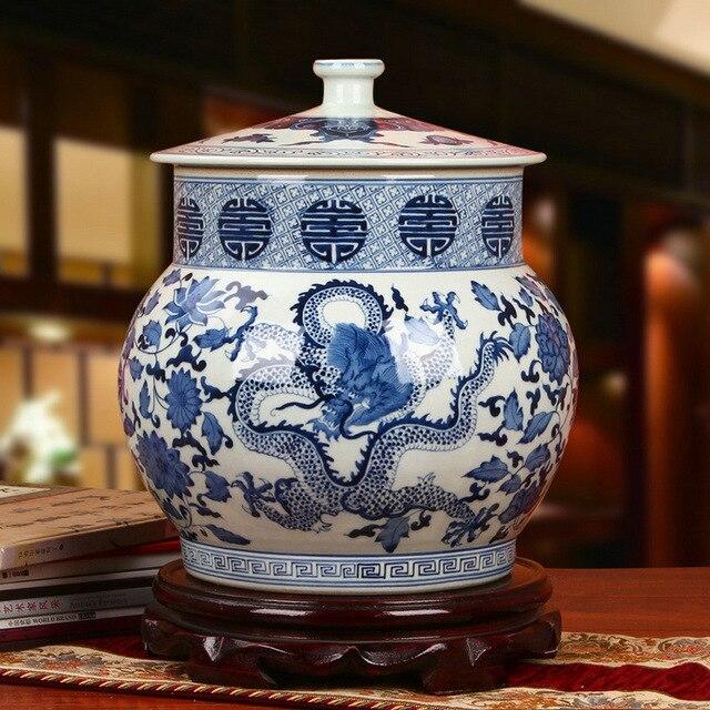 Qing Dynasty Ancient Home Porcelain Vase Ginger Jars Ceramic Jingdezhen Temple Jar Dragon Chinese Blue