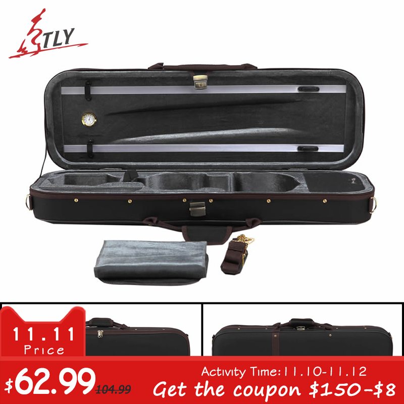 Free Shipping Black Oxford Pleuche High-end Rectangle Violin Case 4/4 w/ Hygrometer Violino Case high grade pleuche rectangle violin case 4 4 3 4 1 2 1 4 w hygrometer black oxfordbuit in high quality violino case