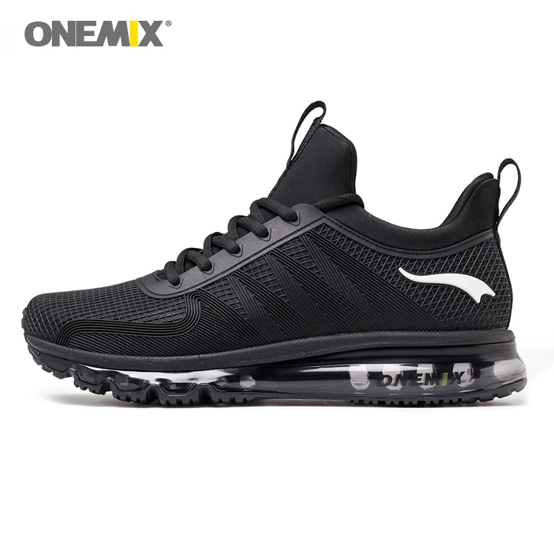 Onemix Running Sneaker For Man High Top Shock Absorption Men Sports Shoes Breathable Light Outdoor Walking Jogging Black White running shoes men sport shoes outdoor sneaker tennis jogging light breathable athletic cushioning shock absorption running