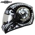 NENKI Black Motorcycle full face retro scooter helmets Motorbike Riding Racing Helmet DOT Clear Lens Shield