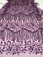 2018 Latest 3D Purple African French Lace Fabric High Quality African Tulle Lace Fabric With Big Tassels Sequins For Wedding AFF