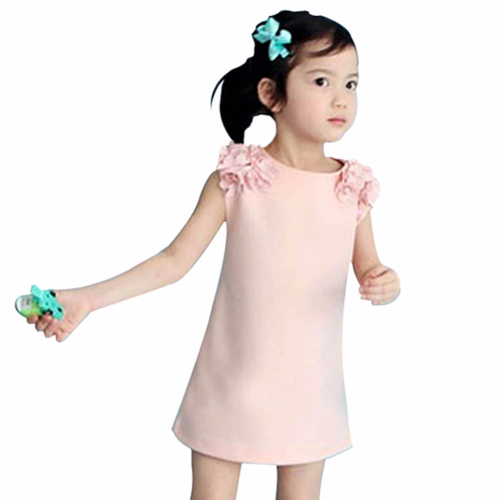 Summer Cute Toddler Baby Kid Girls Sleeveless Flower Princess Dress Tops Clothing