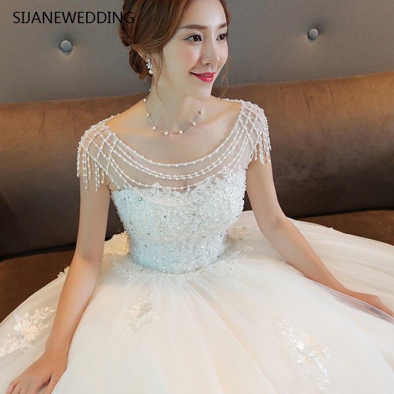 SIJANE роскошные летние корейские белое кружевное платье Beadings руки делают принцесса длинным шлейфом платье длиной до пола Длина бальное плать