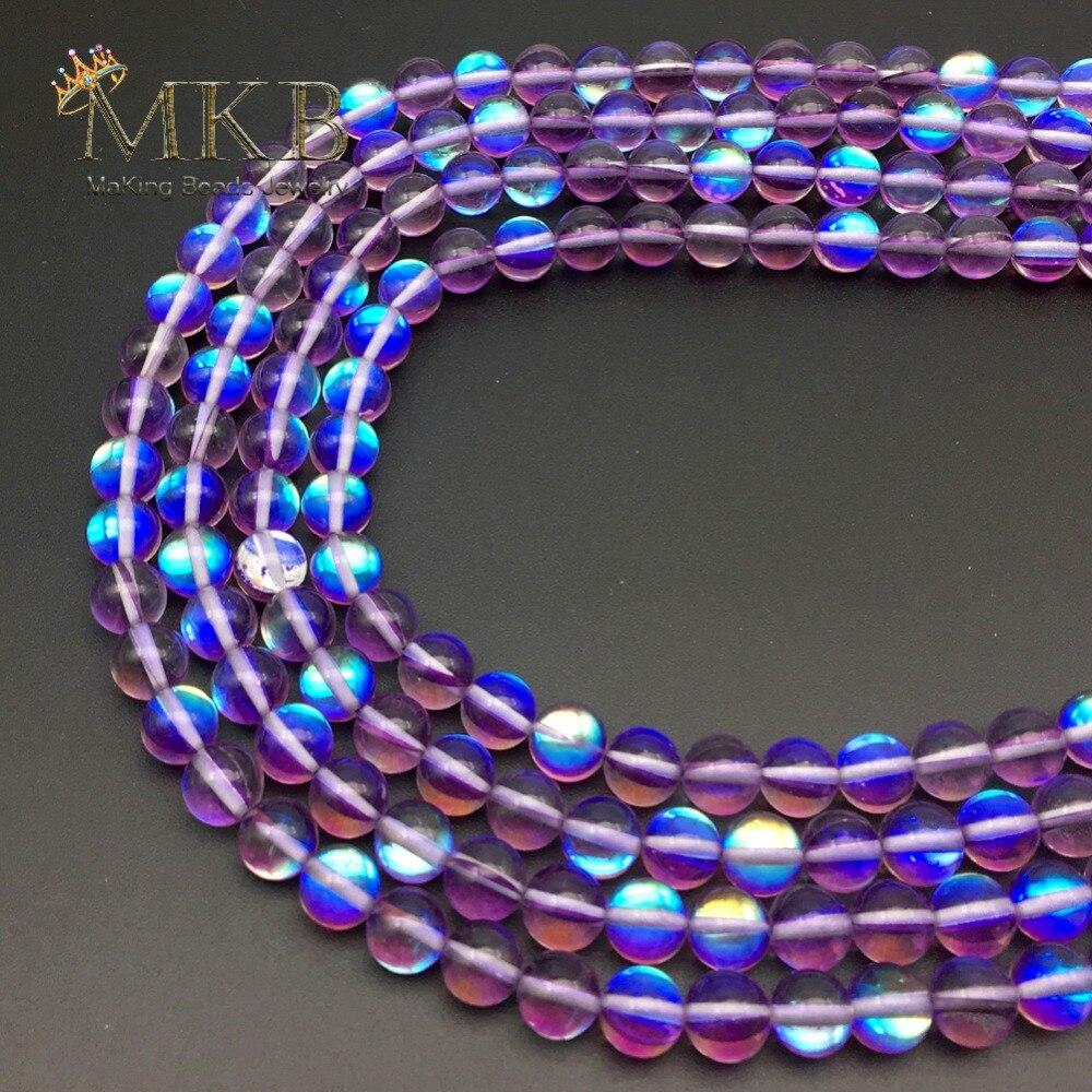 df72065d472e A + púrpura Austria síntesis brillo Luna para la joyería que hace pulsera 6  8 10 12mm Perles ...