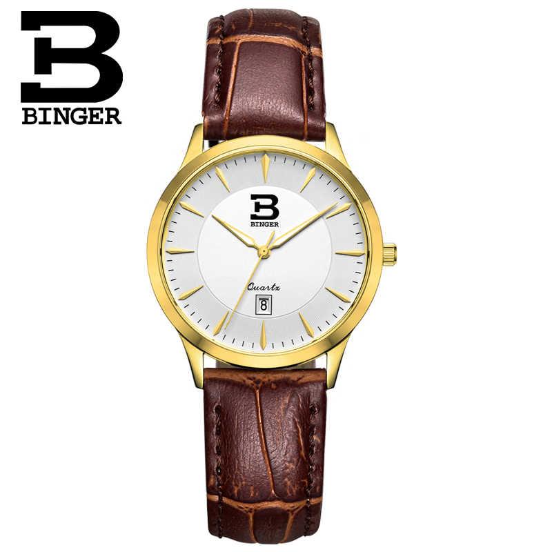 אמיתי שוויצרי BINGER מותג נשים ספיר שעון לוח שנה עמיד למים slim נירוסטה עור רצועת אופנה שולחן