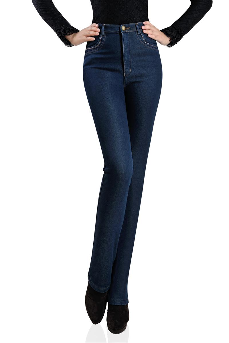 Middle-aged And Old Female Trousers New Winter Middle-aged Woman With Velvet High Waist Jeans Plus-size Cowboy Pants