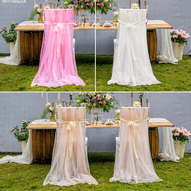 diy organza chair covers oval table and 4 chairs wedding soft tulle cover birthday party baby shower celebrations decoration high quality