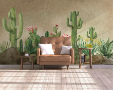beibehang Custom classic personality papel de parede 3d wallpaper hand painted fresh garden succulent background wall painting