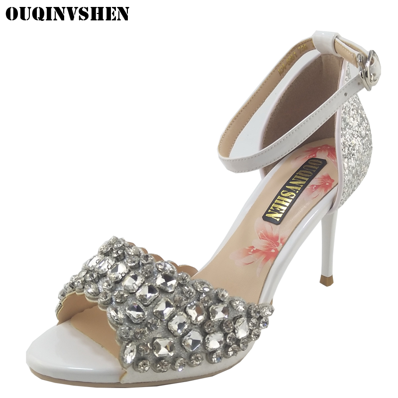 OUQINVSHEN Crystal Bling Sandals Fish Mouth High Heels Women Brand Sandals Women Summer Shoes Casual Fashion Ladies Sandals new listing hot sales summer fashion brand sexy women fish mouth high heels sandals women shoes pumps height 9cm 3603