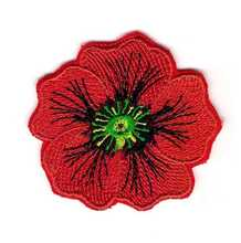 Custom embroidery Patch Emblem Flower Poppy Memorial Remembrance Veterans Iron on applique for clothing hats bags jackets