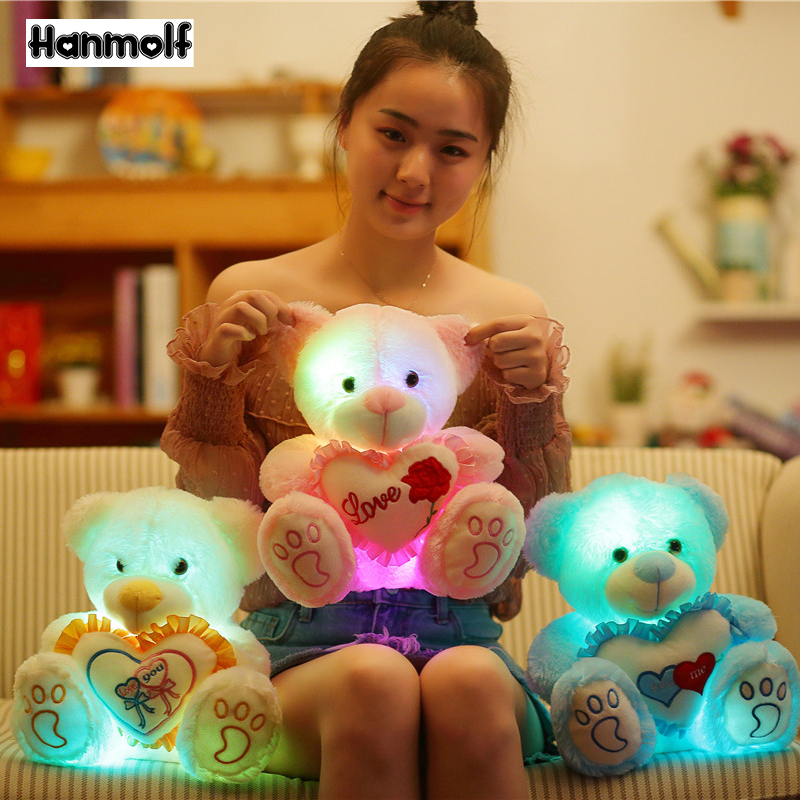 Glowing Plush Teddy Bear Animal Toy Sitting Holding Heart Red Rose Say Love Light Up Valentine Day Girlfriend Lover Gift 25/30cm Plush Light - Up Toys