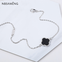 New 2018 Authentic 925 Sterling Silver Bracelet Black Onyx Cross Crystal Bracelets And Bangles For Women