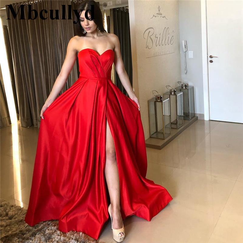 Mbcullyd Sexy High Split Prom Dresses 2019 Long Floor Length Women Dress Party Gowns Cheap Plus Size Red Satin vestidos de festa