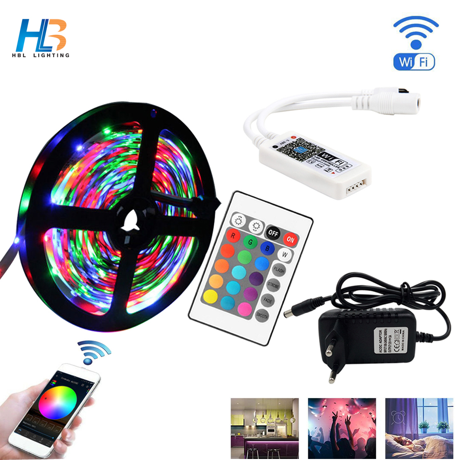 5M 10M 15M 2835 RGB LED Strip Light Waterproof Diode Tape LED Strip Ribbon DC 12V Adapter+IR Led Rgb Remote Or Wifi Rgb Remote