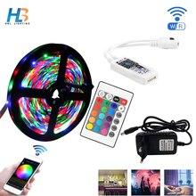 5M 10M 15M 2835 RGB LED Strip Light Waterproof Diode Tape LED Strip Ribbon DC 12V Adapter+IR led rgb Remote or wifi rgb Remote