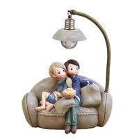 수 지 공예 커플 밤 빛 장식품 크리 에이 티브 레트로 연인 nightlight 소형 인형 led 램프 학생 크리스마스 선물