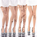2016 Top Moda Real de Impresión Medias Collant Medias Finas Pantimedias Verano Tatuaje Velvet Panty Impresión Fábrica Al Por Mayor