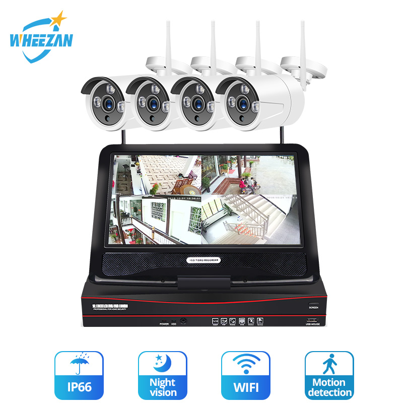 Wheezan CCTV Security Camera System Wireless 4CH 1080P HD Home Surveillance Kit Camera Outdoor LCD NVR