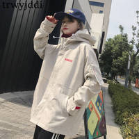 2019 New Spring Autumn Coats Women Korean Loose BF Harajuku Baseball Uniform Jacket Female Hooded Windbreaker Outerwear N38